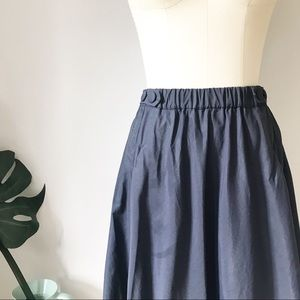 Zara • Free Flowing Full Navy Skirt with Pockets